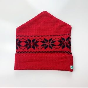 Vintage | 70's Snowflake Red Knit Ski Hat Beanie